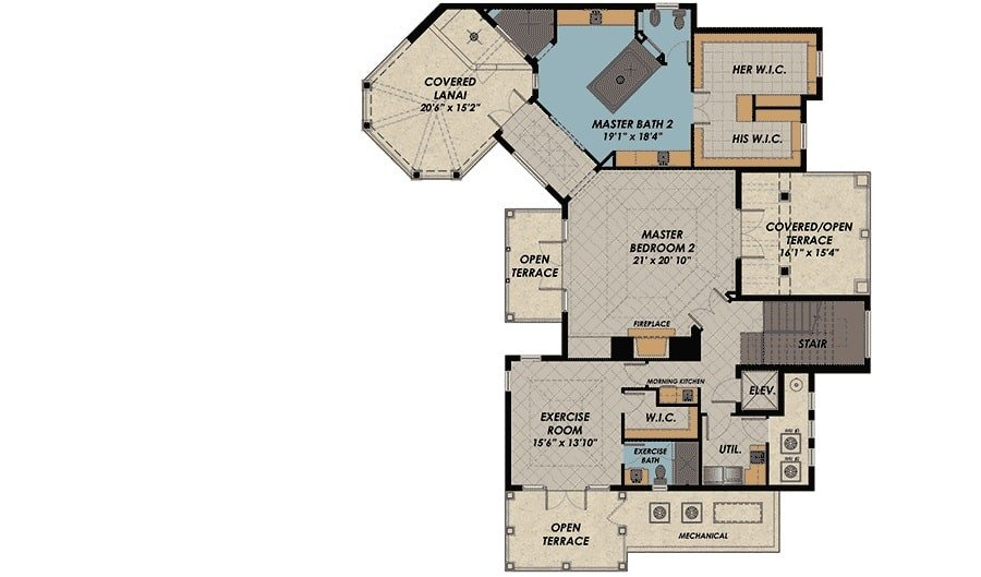 Second level floor plan with primary suite, exercise room, and multiple terraces.