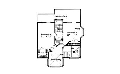 Second level floor plan with two bedrooms connected by a Jack and Jill bath and balcony deck.