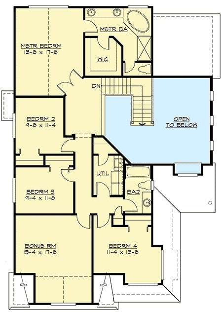 Second level floor plan with 4 bedrooms, a utility room, and a large bonus room.