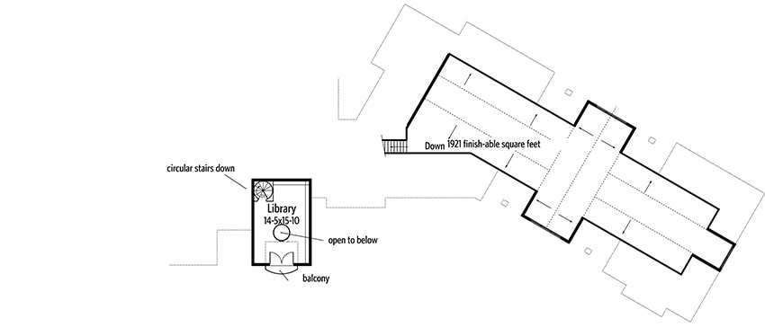 Second level floor plan with library and balcony.