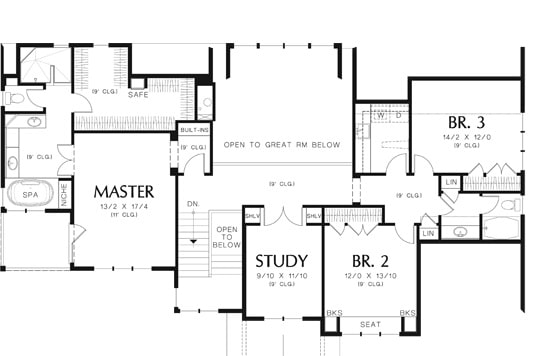 Second level floor plan with three bedrooms and a study.