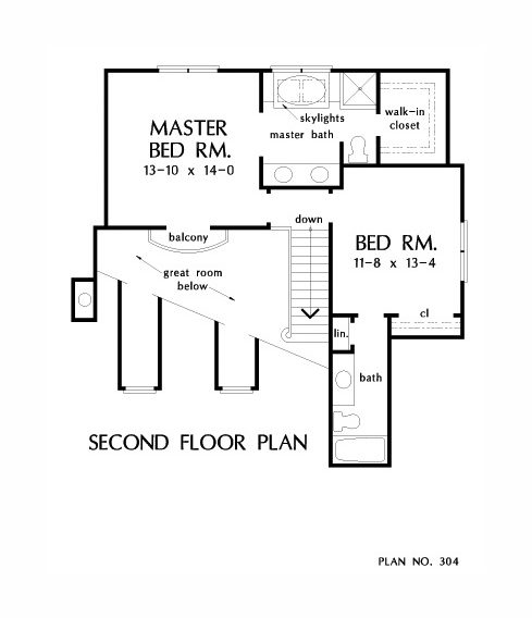 Second level floor plan with two bedrooms including the primary suite.
