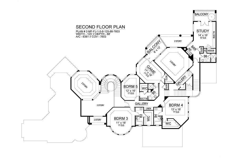 Second level floor plan with three bedrooms, study, and game room with balcony.