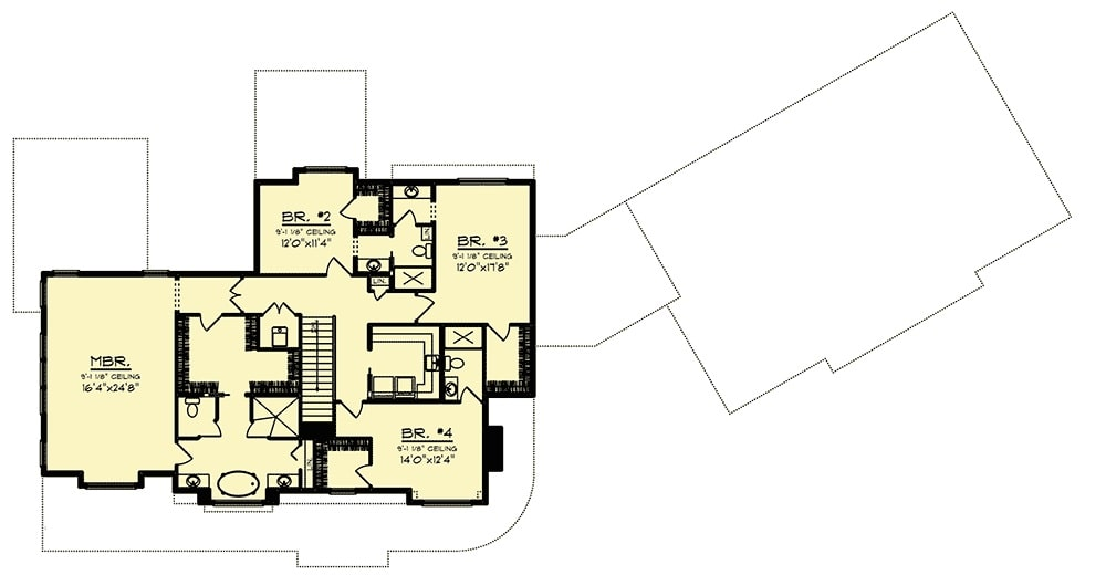 Second level floor plan with three bedrooms and a primary suite with a large walk-in closet.