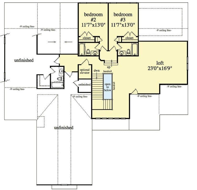 Second level floor plan with two bedrooms, and an enormous loft.