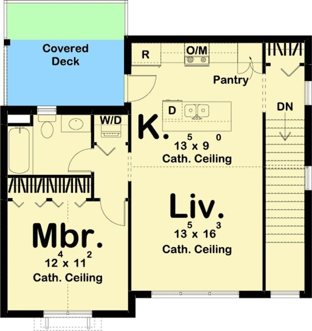 Second level floor plan with primary suite, living room, and a kitchen that opens to the covered deck.