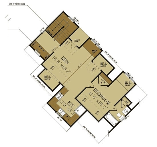 Second level floor plan with a kitchen, den, and bedroom with a full bath.
