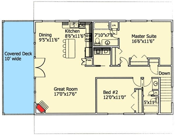 Second level floor plan with two bedrooms, a hall bath, kitchen, dining area, and a great room that opens to the covered deck.