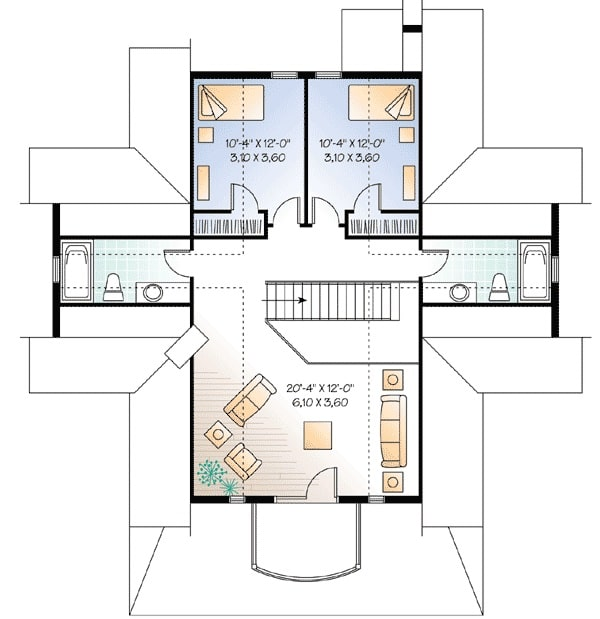Second level floor plan with twin bedrooms and a family room.