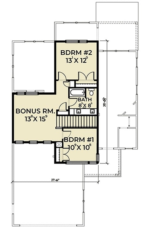 Second level floor plan with a large bonus room and two bedrooms sharing a bath.