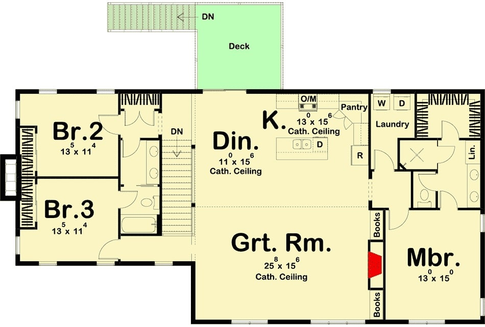 Second level floor plan with three bedrooms, laundry, great room, kitchen, and dining area that opens out to the back deck.