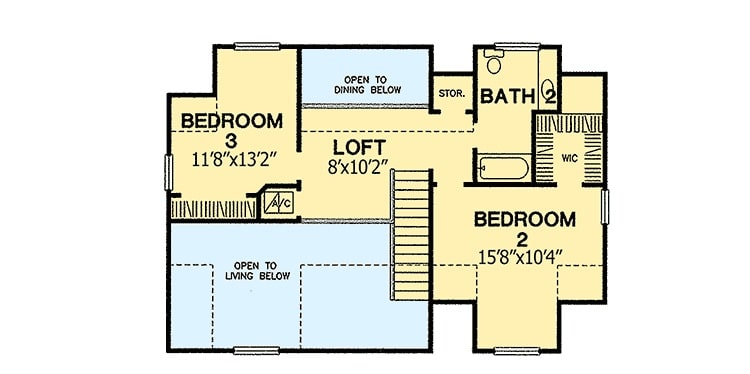 Second level floor plan with two bedrooms, a hall bath, and a loft overlooking the dining and living rooms below.