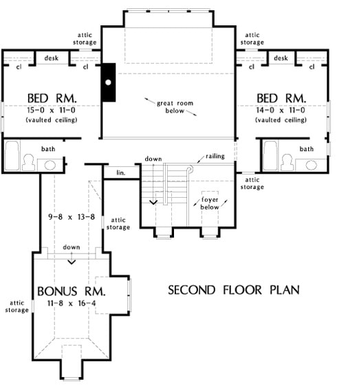 Second level floor plan with two bedrooms, two baths, and a bonus room above the garage.