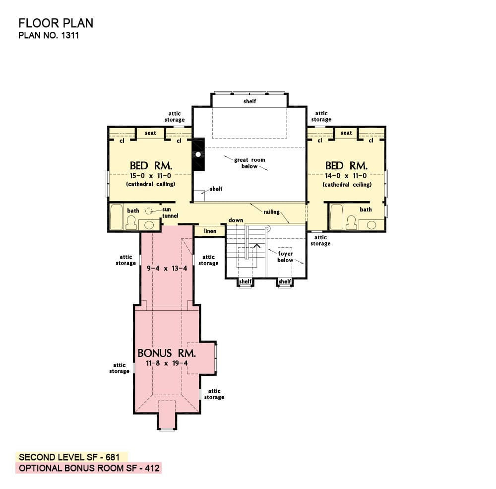 Second level floor plan with two more bedrooms and a large bonus room sitting above the garage.