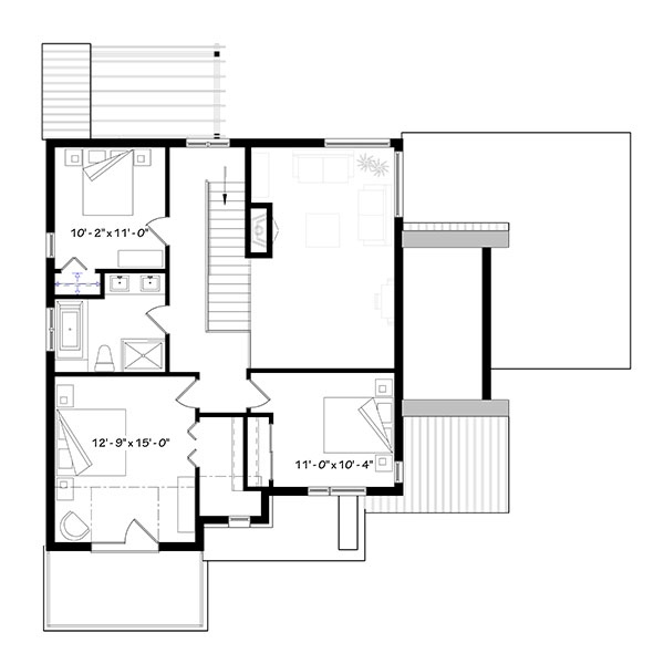 Second level floor plan with three more bedrooms and a shared bath.