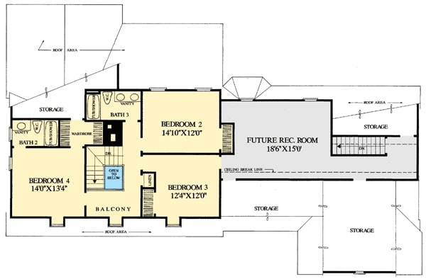 Second level floor plan with three bedrooms and a future recreational room.
