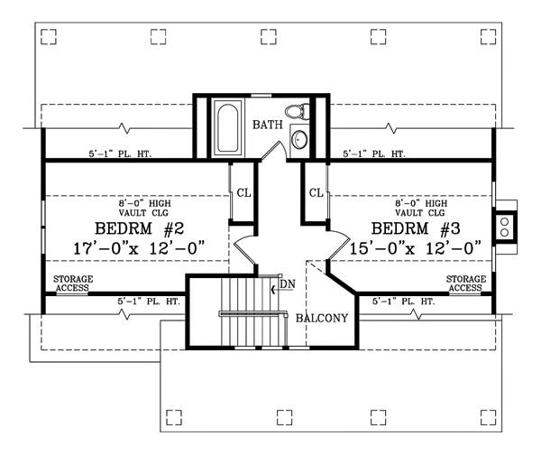 Second level floor plan with two bedrooms sharing a bath.