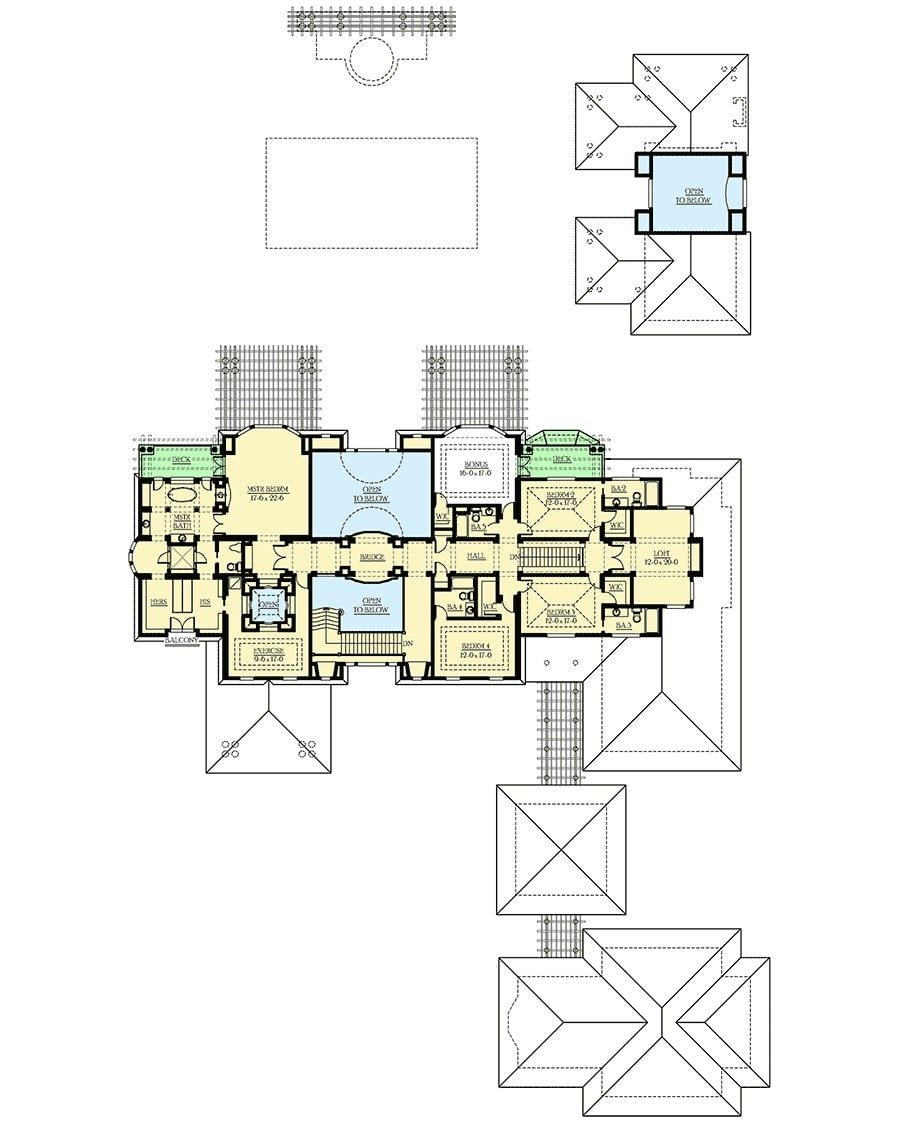 Second level floor plan with four bedrooms, exercise room, loft, and a bonus room with a private deck.
