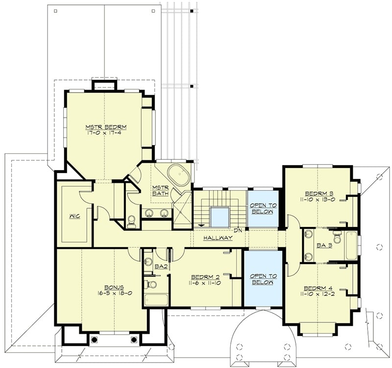 Second level floor plan with four bedrooms and a bonus room sitting above the garage.