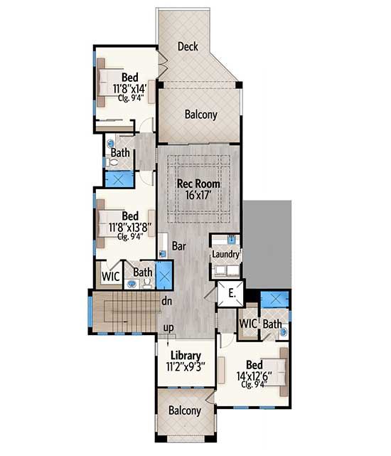 Second level floor plan with three bedrooms, a library, recreation room, and front and rear balconies.