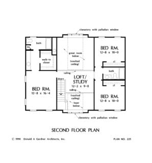 Second level floor plan with three bedrooms and a loft that doubles as a study.