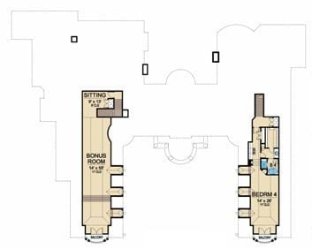 Second level floor plan with another bedroom and a separate bonus room.
