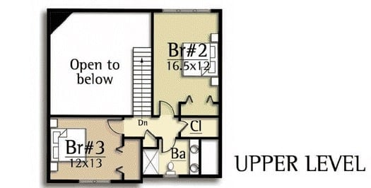 Second level floor plan with two bedrooms, closet storage, and a shared bathroom.