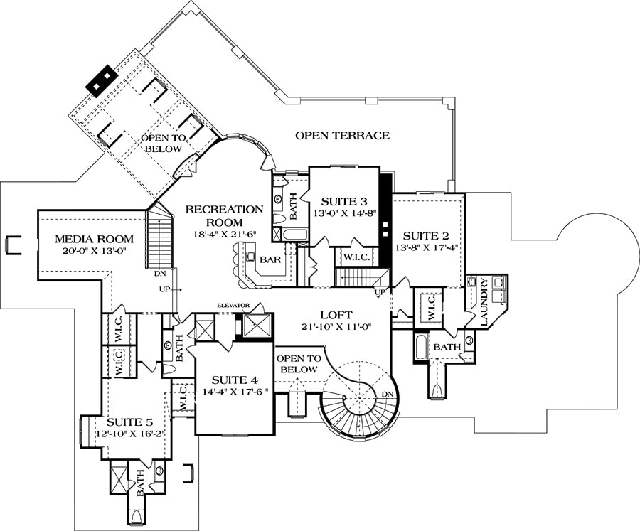 Second level floor plan with four bedrooms and baths, media room, loft, and a recreation room with bar and terrace access.