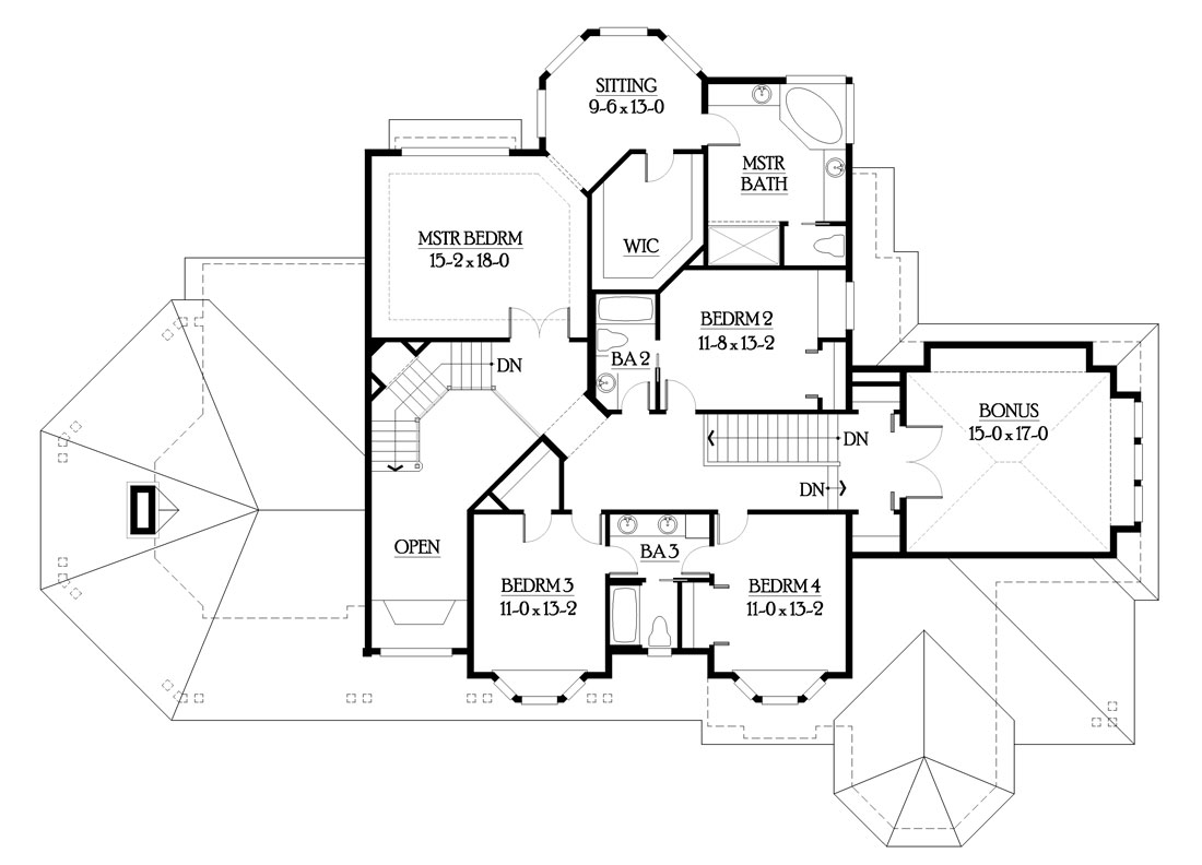 Second level floor plan with a bonus room, three bedrooms, and a primary suite with a circular sitting room.