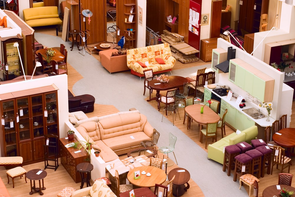 An aerial view of a furniture store showcasing different furniture for the various areas of the house.