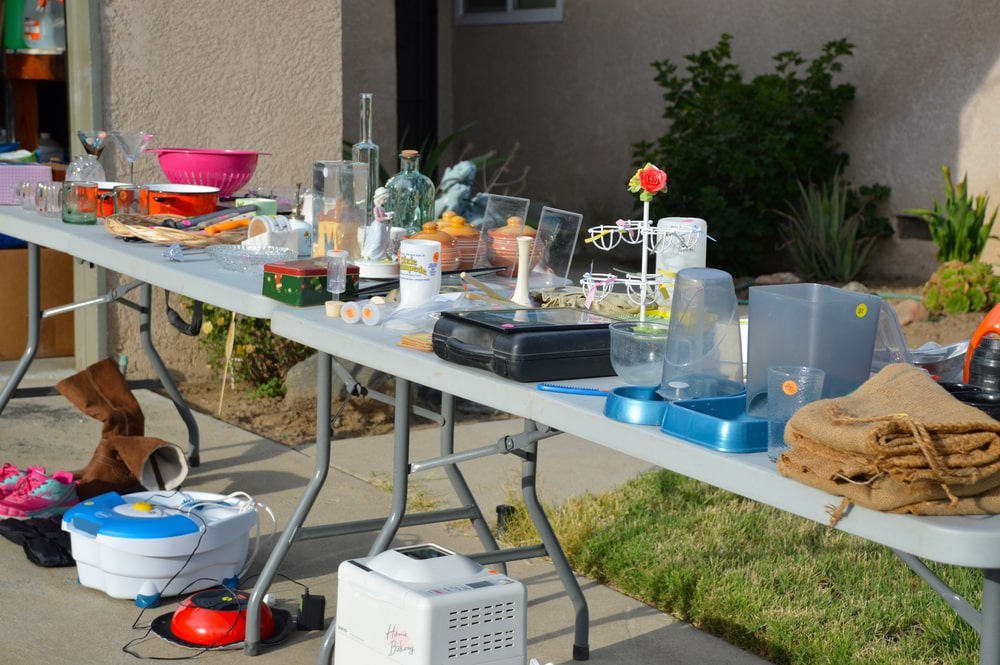 A close look at a garage sale.