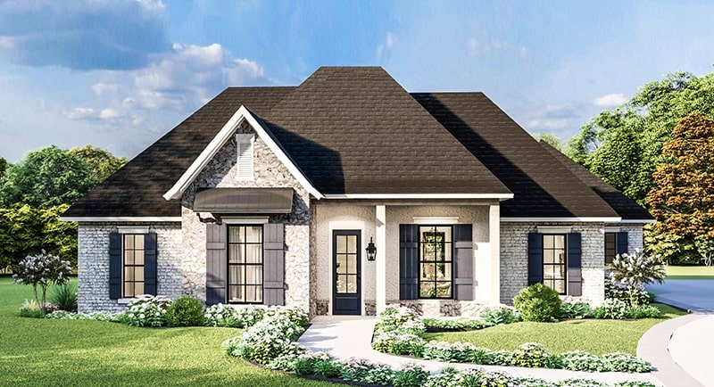 Single-Story 4-Bedroom Greystone Traditional Style Home for Corner Lot