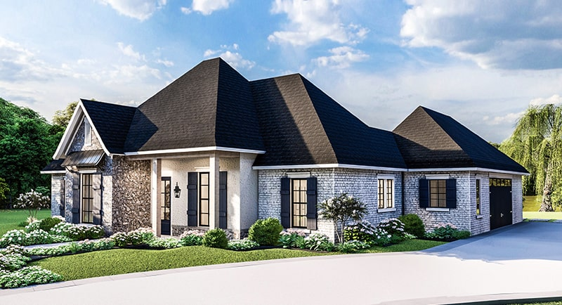 Front rendering of the single-story 4-bedroom Greystone traditional style home.