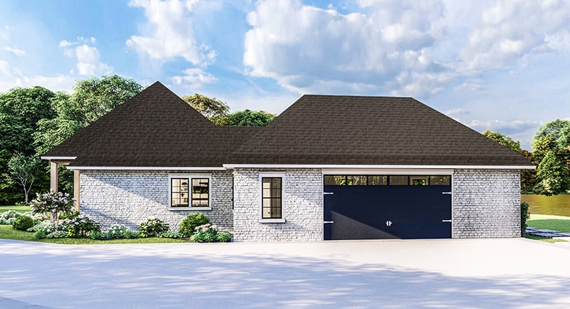 Right rendering of the single-story 4-bedroom Greystone traditional style home.