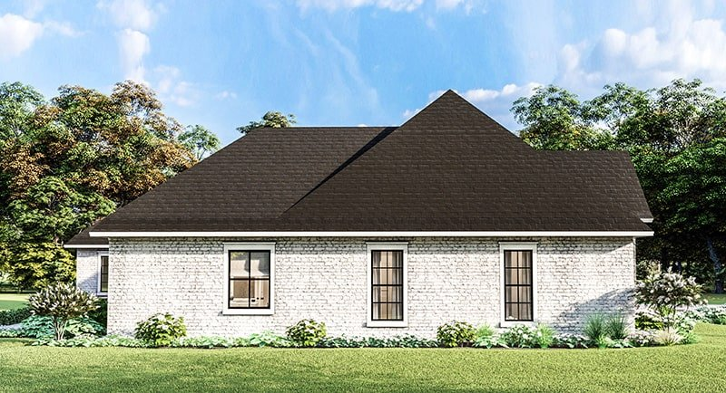 Left rendering of the single-story 4-bedroom Greystone traditional style home.