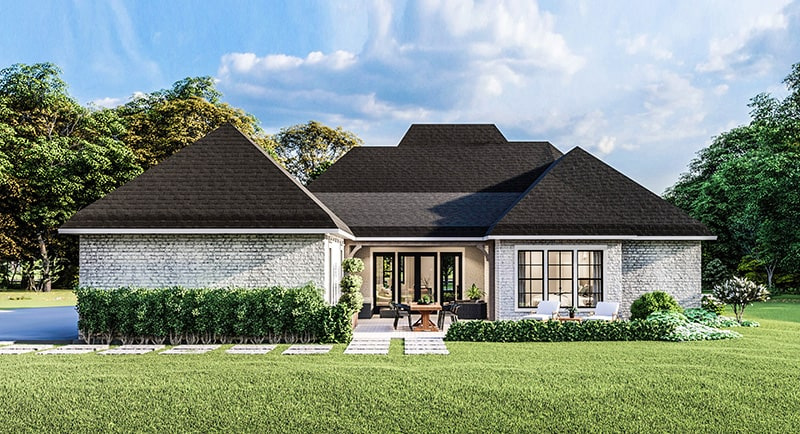 Rear rendering of the single-story 4-bedroom Greystone traditional style home.