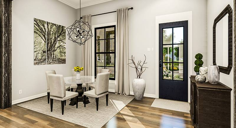 Foyer and dining room with dark wood console table, round dining set, geometric chandelier, and multipanel artwork adorning the gray wall.