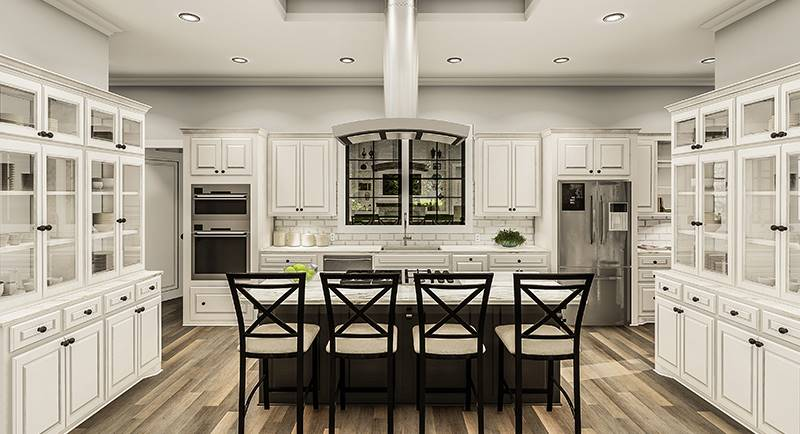 Kitchen equipped with white and glass front cabinets, stainless steel appliances, marble countertops, and a breakfast island.