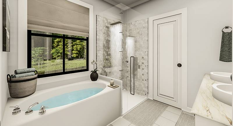 The primary bathroom offers a walk-in shower and a drop-in bathtub placed under the black aluminum-framed window.