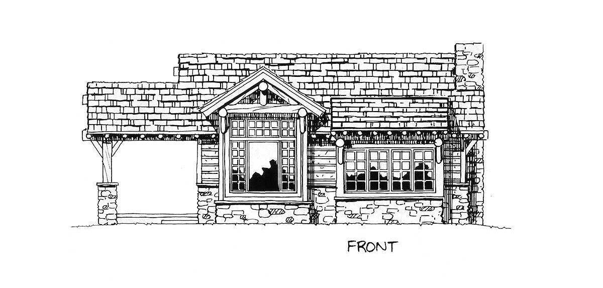 Front elevation sketch of the single-story 2-bedroom mountain home.