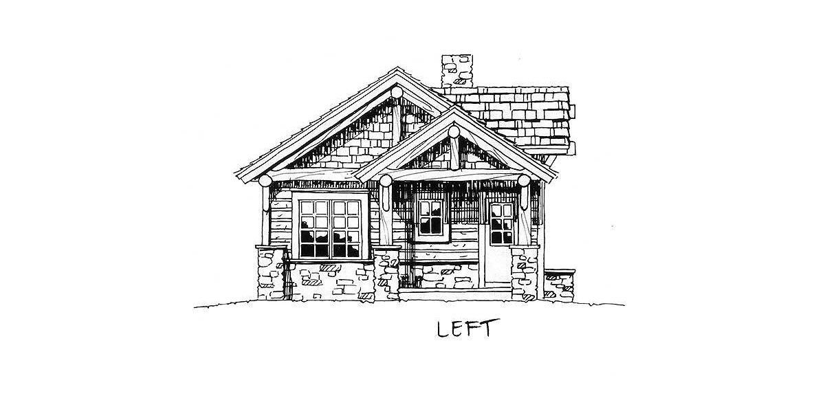 Left elevation sketch of the single-story 2-bedroom mountain home.