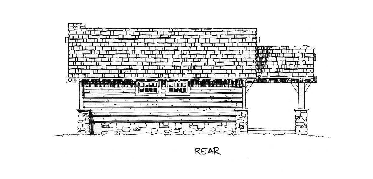 Rear elevation sketch of the single-story 2-bedroom mountain home.