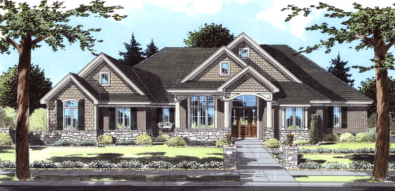 Front rendering of the single-story 3-bedroom Hunters Glen ranch.