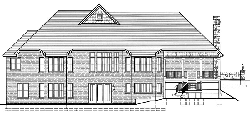 Rear elevation sketch of the single-story 3-bedroom Hunters Glen ranch.