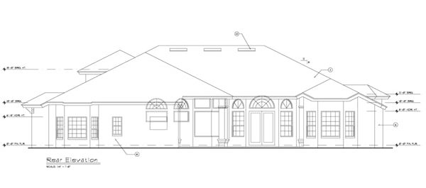 Rear elevation sketch of the single-story 5-bedroom Rembrandt European Villa.