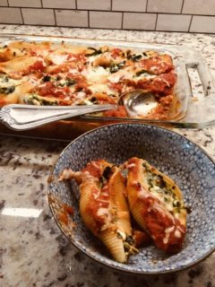 A fresh batch of spinach and three cheese stuffed shells.