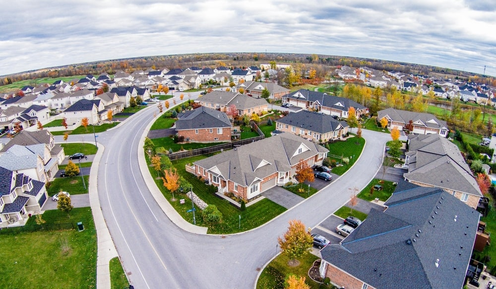 Aerial view of a subdivision.