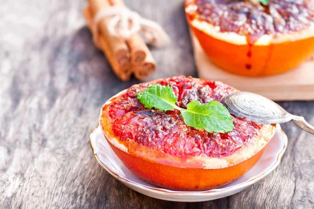 A serving of baked grapefruit.