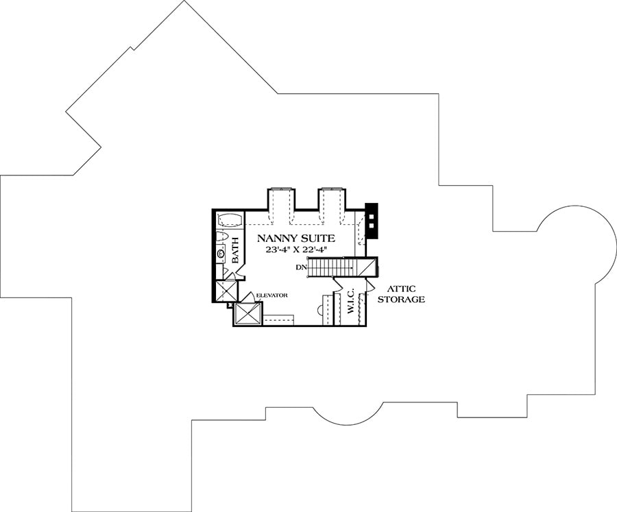 Third level floor plan with a nanny suite and attic storage.