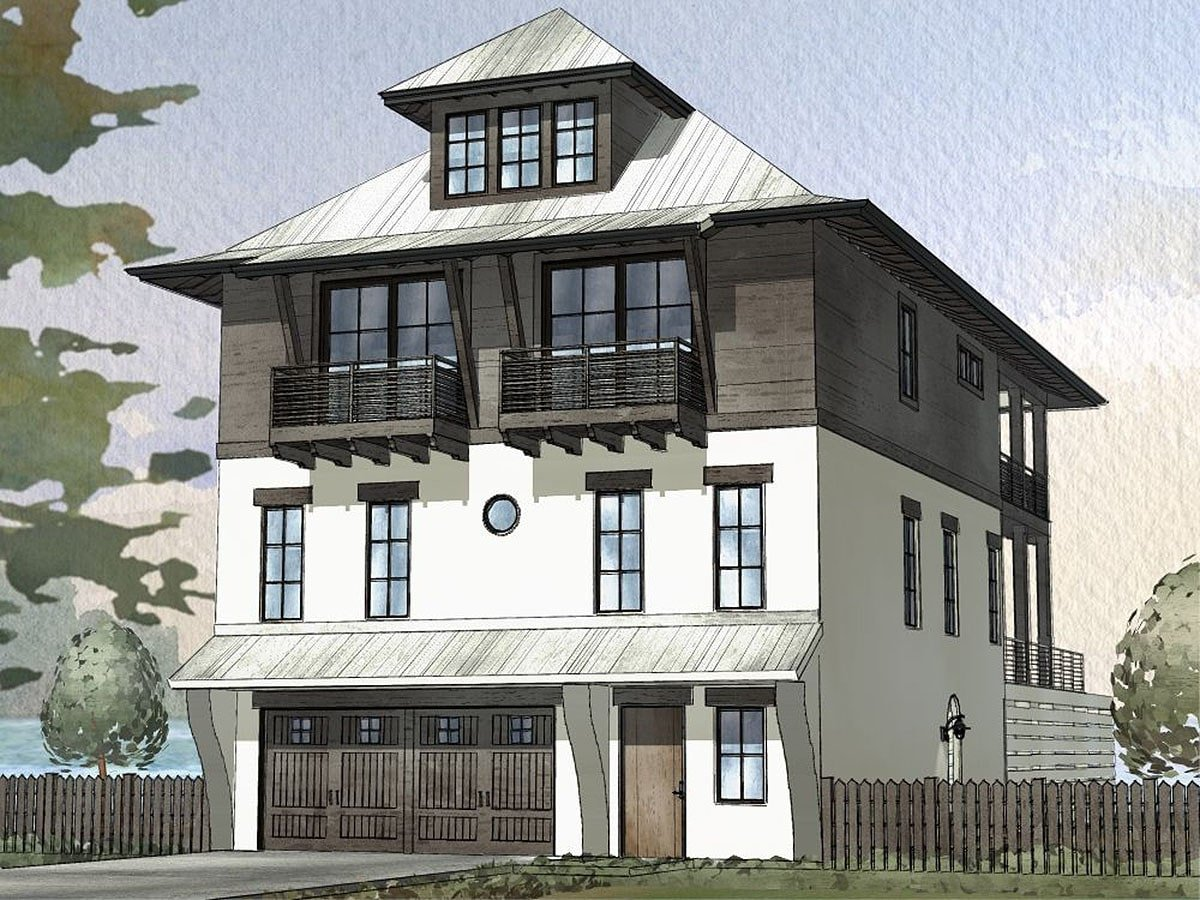 Front rendering of the three-story 4-bedroom beach home.